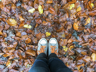 Woman in sneakers standing on autumn foliage - ASCF00773
