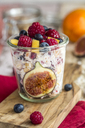Glass of natural yogurt with granola and various fruits - SARF03507