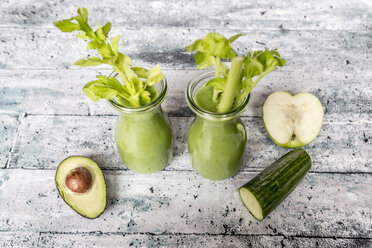 Avocado smoothie, green smoothie with cucumber, apple, celery stalk - SARF03515