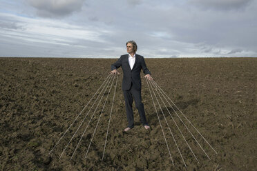Businessman standing on a field tied to strings - PSTF00062