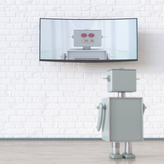 Robot looking at screen with robot, 3d rendering - UWF01326