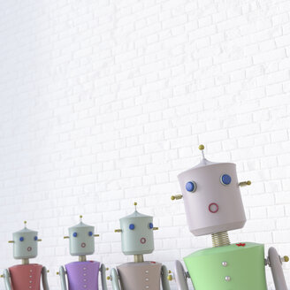 Female robots with one seperated from the others, 3d rendering - UWF01329