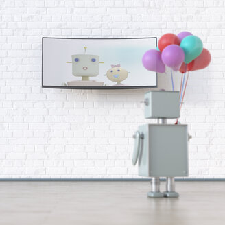 Robot with balloons looking at screen with robot wife and kid, 3d rendering - UWF01332