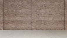 Empty room with brick wall and wooden floor, 3d rendering - UWF01338