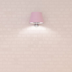 Pink wall lamp at brick wall, 3d rendering - UWF01344