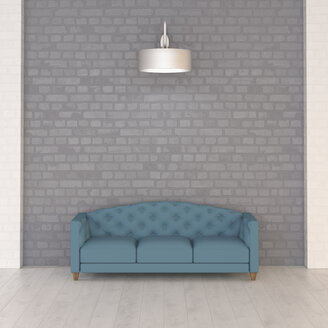 Turquoise couch under wall lamp, 3d rendering - UWF01347
