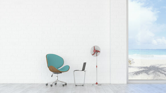 Office chair, laptop and fan with view to beach and sea, 3d rendering - UWF01350