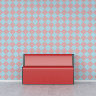 Red bench in front of checkered pattern wallpaper, 3d rendering - UWF01356