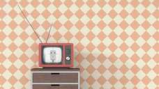 Female anchorwoman on chest of drawers in retro Tv, 3d rendering - UWF01362