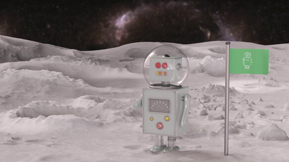 Robot on planet in the universe, 3d rendering - UWF01368