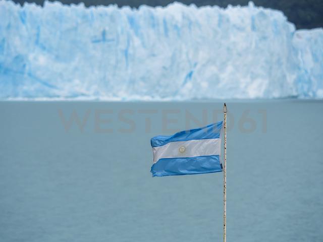 Argentina, Patagonia, El Calafate, Argentinian Flag with Glacier Perito Moreno in the background - AMF05619