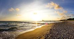 Germany, Mecklenburg-Western Pomerania, Zingst, beach at sunset - PUF01227