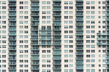USA, Florida, Miami, Venetian Islands, facade of an apartment tower with balconies - SHF01989