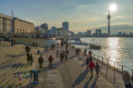 Germany, Duesseldorf, waterfront promenade in the evening - FR00628