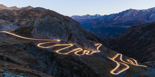 Switzerland, Valais, Alps, Gotthard pass in the evening - WDF04382