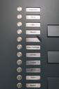 Doorbell button panel with empty nameplate of deceased neighbour - MF04384