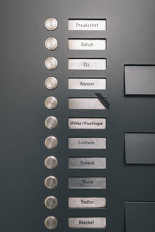 Doorbell button panel with empty nameplate of deceased neighbour - MF04384