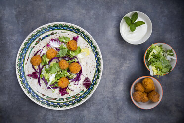 Falafel, wrap, salad, red and white cabbage, yogurt sauce with mint - LVF06653