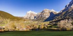 Switzerland, Bern, Bernese Oberland, holiday resort Grindelwald, Wetterhorn, Schreckhorn - WDF04405