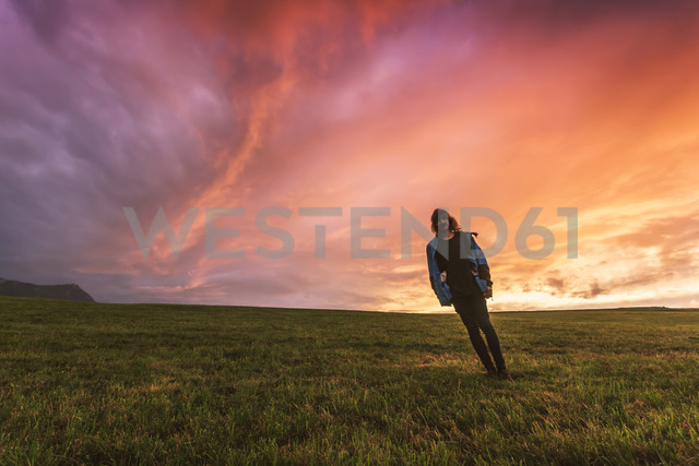 Austria, Upper Austria, young man standing on meadow at sunset - WVF00918
