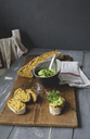 Homemade tomato baguette with avocado dip and parsley - ODF01587