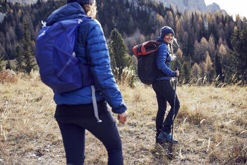 Two young women hiking in the mountains - PNEF00442