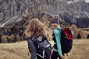 Two young women hiking in the mountains - PNEF00475