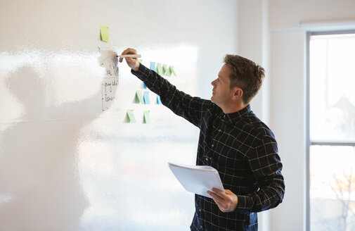 Businessman in office writing on whiteboard - EBSF02082