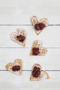 Homemade waffels with cherries with icing sugar, hearts - GWF05419