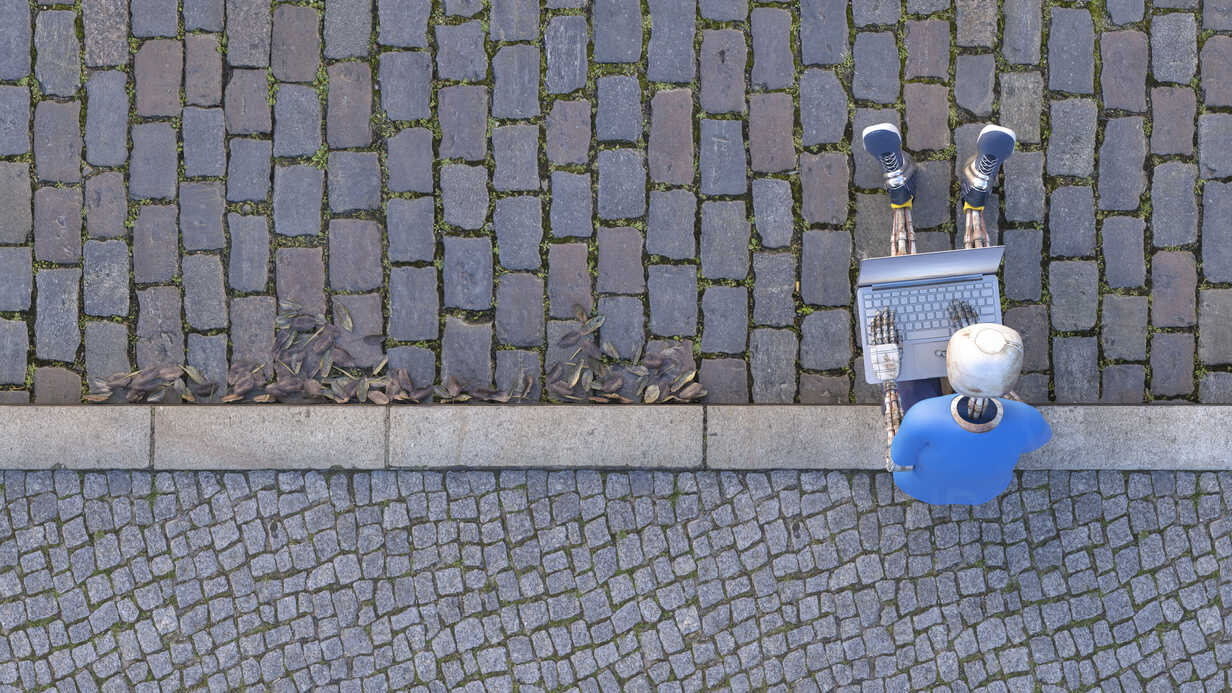 Robot sitting on curb using laptop, 3d rendering - AHUF00483 - Anna Huber/Westend61