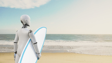 Robot holding surfboard on the beach, 3d rendering - AHUF00486