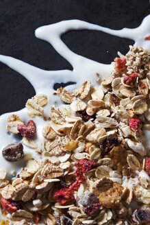 Fruit granola with dried fruits on yoghurt splash - CSF28869