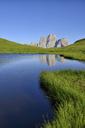 Italy, Province of Belluno, Dolomites, Selva di Cadore, Monte Pelmo reflecting in Lago delle Baste - RUEF01808