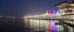 Canada, British Columbia, Vancouver, Convention Center and Canada Place at night - MMAF00230