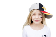Portrait of a girl with German face paint and cap - NEKF00023