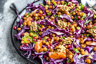 Winter salad, red cabbage, roasted chickpea, blood orange, spring onion and walnut - SARF03529