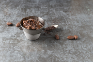 Cup of chocolate icecream sprinkled with cacao and cacao nibs - MYF02008