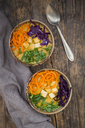 Turmeric curry dish with carrot, tofu, red cabbage and parsley in bowl - LVF06673