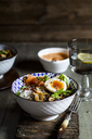 Lunch bowl, cooked egg, rice, smoked salmon, mushroom, green cabbage, sesame - SBDF03449