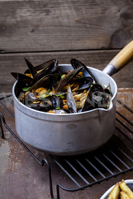 Blue mussels in cooking pot - SBDF03458