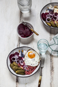 Labskaus, rollmops, pickled gherkin, beetroot salad, onion and fried egg - SBDF03461