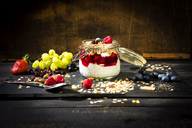 Muesli with Red Fruit Jelly, chia, curd, raspberry, almond, cranberry, blue berry, dried banana, grape - MAEF12527