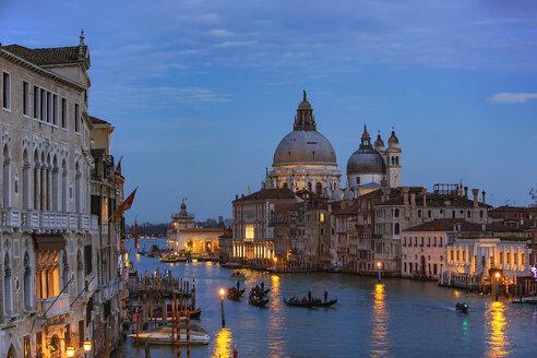 Italy, Veneto, Venice, Gondolas on Grand Canal in front of Basilica di Santa Maria della Salute - YRF00195