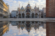 Italy, Veneto, Venice, St Mark's Square with St. Mark's Basilica, mirrored - YRF00204
