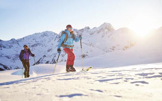 Austria, Tyrol, Kuehtai , freeride skiers on a ski tour - CVF00139