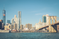 USA, New York City, skyline and Brooklyn Bridge as seen from Brooklyn - SEEF00023