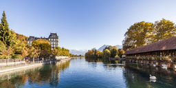 Switzerland, Canton of Bern, Thun, river Aare, art museum, Aarequai and sluice bridge - WDF04433