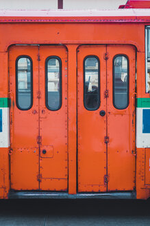 Thailand, Bangkok, doors of red train - KKAF00859