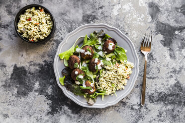 Plate of Falafel, salad, yogurt sauce with mint and Tabbouleh - SARF03548