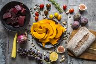Pumpkin panzanella, bread salad of pumpkins, onions, tomatoes, grapes and figs - SARF03561